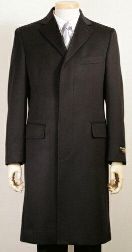 カシミヤコート | メンズ チェスターコート シングル カシミヤ100 黒 ブラック ロングコート フラ...