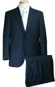 スーツ | メンズ ビジネススーツ メンズスーツ スタンダード レギュラー シングル 2ボタン ワンタック ストライプ 濃紺 秋冬 春 紳士 男性 40代 50代 ベーシック 着こなし コーデ おしゃれ おすすめ 送料無料 A18530