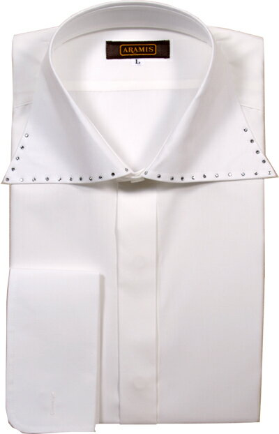 【のだめカンタービレに衣装提供】 ARAMIS ドレスシャツ ワイドカラー スワロフスキー使い 白 ホワイト 日本製 シャツ ワイシャツ フォーマル メンズ 紳士 男性 男 結婚式 披露宴 パーティ 二次会 送料無料 ar100