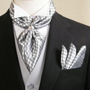 ストール ポケットチーフ スカーフリング セット グレー フォーマル メンズ 男性用 結婚式 披露宴 新郎 タキシード お色直し 二次会 パーティ アスコット スカーフ 礼装 衣裳 衣装 着こなし コーデ 通販 CD405-SD4005-RG-GRAY