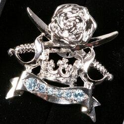 剣・大冠・ローズがモチーフのシルバー色ブローチ BR0805-C1