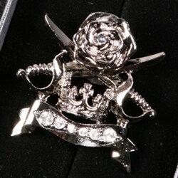 剣・大冠・ローズがモチーフのブラック色ブローチ BR0805-C2