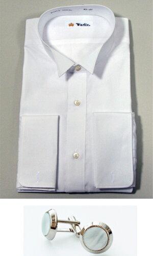 ウイングカラーシャツ 日本製ウィングカラーシャツ白ダブルカフス【送...