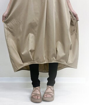 『大人の余裕』漂う変形スキッパーシャツワンピースレディースママ大人30代40代ファッション2021SSロング丈五分袖裾バルーンボリューム袖スタンドネック前後差シャツチュニックロングワンピースバルーンワンピースmeirireメイリールー