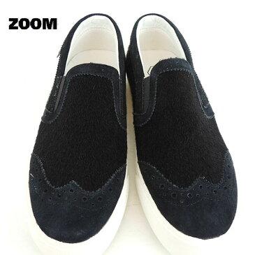 ZOOM(ズーム) ハラコ SLIP ON 【送料無料】 (23-24) レディース 靴 おしゃれ キッズ 男の子 女の子 スリッポン かわいい 子供 黒 入学式