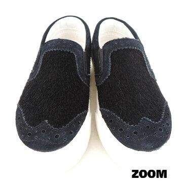 ZOOM(ズーム) ハラコ SLIP ON 【送料無料】 (16-21) 靴 おしゃれ キッズ 男の子 女の子 スリッポン かわいい 子供 黒 入学式