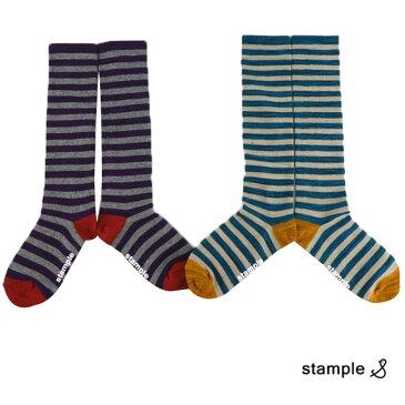 STAMPLE(スタンプル) レトロボーダー ハイソックス 2足セット (13-21cm) おしゃれ キッズ 靴下 男の子 女の子 かわいい 子供