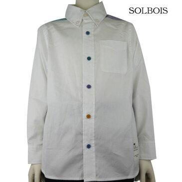 SOLBOIS(ソルボワ) オックス×ブロックチェック カラーボタン ボタンダウンシャツ (110-120) おしゃれ キッズ 男の子 かわいい 子供服 入学式 フォーマル