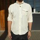 【SALE】GAIJIN MADE(ガイジンメイド)コットンリネン トグルボタン 6分袖シャツ(S-M)【50%】