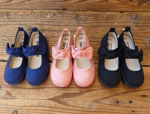 POMPKINS(ポプキンズ) リボンベルトシューズ (13-21) キッズスニーカー リボン 靴 ...