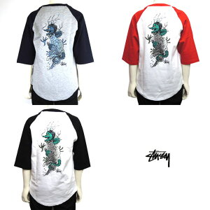 STUSSY(ステューシー)KIDSWAVEDRAGONRAGLAN7分袖Tシャツ(90-130)おしゃれキッズ子供服男の子女の子