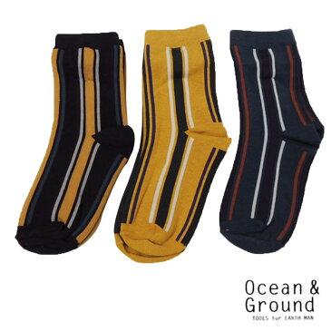 OCEAN&GROUND(オーシャン&グラウンド) クルーソックス STRIPES 3P 1000円セット (13-24cm)  おしゃれ キッズ 男の子 女の子 かわいい 子供服