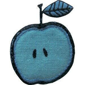エクルラ アイロン接着タイプ ファブリックワッペン りんご青 入園 保育園 幼稚園 アイロン