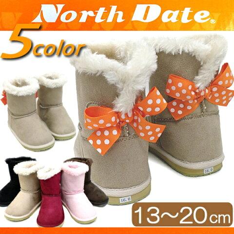 ノースデート ブーツ ショートブーツ ベビー キッズ チャイルド 子供靴 黒 リボン付き North Date