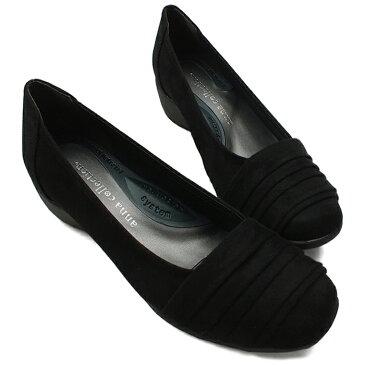ANNA COLLECTION[アンナコレクション]ラウンドトゥコンフォートパンプス ブラックスウェード 4.0cmミドルヒール レディース パンプス 靴 ウェッジソール 3E幅広設計 低反発インソール 小さいサイズ 大きいサイズ【BL】