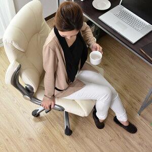 オフィスチェアレザー腰痛リクライニングチェア肘付きハイバック上下昇降低反発パソコンチェアー腰ブラウンホワイト【グランド】