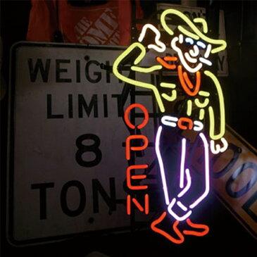 NEON SIGN ネオンサイン COWBOY OPEN ネオン看板 ネオン管 照明 ライト ガレージ アメリカン 壁掛け 壁飾り バー 雑貨屋 ジーンズショップ おしゃれ(メーカー直送、代金引き不可)
