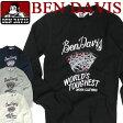 BEN DAVIS 長袖Tシャツ ベンデイビス ロンT ★ ベンデービス ロンT クルーネック フロントのトランプ柄のプリントデザインがお洒落でかっこいい一枚。ワッフル地の生地感が快適に着回しやすいTシャツが登場です。 BEN-876