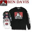BEN DAVIS Tシャツ ベンデイビス 長袖Tシャツ ★ ベンデービス トップス 袖ロゴ ベンデイヴィス フロントのゴリラアイコンプリントがインパクト抜群でかっこいい。両袖にもブランドロゴのプリント入りのカジュアルなベンデビTシャツ。BEN-929