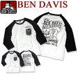 BEN DAVIS Tシャツ ベンデイビス 七分袖Tシャツ ★ ベンデービス トップス ベンデイヴィス フロントのペイズリ—柄の胸ポケットがアクセントになってお洒落。バックスタイルのプリントがインパクト抜群のベンデビTシャツ。BEN-931