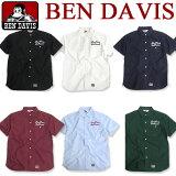 BEN DAVIS シャツ ベンデイビス 半袖シャツ オックスフォードシャツ ★ ベンデービス トップス ベンデイヴィス シャツ フロントのロゴ刺繍がアクセントになってお洒落。カジュアルに着やすいベンデビの刺繍入り半袖シャツ。BEN-963