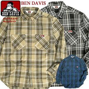 BEN DAVIS 長袖シャツ ベンデイビス ビッグシルエット チェックシャツ メンズ ゴリラアイコンタグ 胸ポケット チェック柄 シャツ ラウンド裾 ベンデイヴィス ドロップテール 柄シャツ ベンデービス カジュアル 長袖 トップス BEN-1496