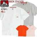 BEN DAVIS Tシャツ ベンデイビス ボックスロゴ ワッペン 胸ポケット付き 半袖Tシャツ メンズ ベンデイヴィス 胸ポケットTシャツ クルーネック ベンデビ 半袖 無地 ポケT アメカジ カジュアル トップス BEN-1520