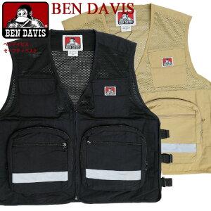 BEN DAVIS ベスト ベンデイビス セーフティベスト メンズ SAFETY VEST ベンデイヴィス アウトドアベスト ジップアップベスト リフレクター付き メッシュ生地 多ポケット 多機能 フィッシングベスト カジュアル アメカジ BEN-1551