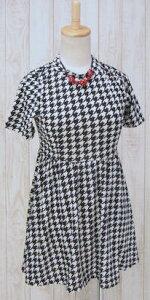 14a24b93c6fb8  G 千鳥格子 + ~~フレア~~半袖ワンピース(白黒モノトーン)(春秋)  レディース  チェック  女性服