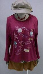 アンサンブル☆☆♪カラーミックスのひょう柄にエアーメールデザインのトップス(ワイン)(春秋冬)<全3色>