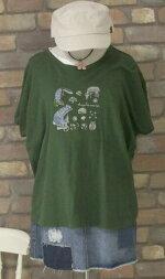 【メール便対応】〜動物たちの共和国〜動物刺繍〜半袖Tシャツ(グリーン)(春夏秋)