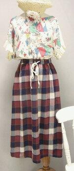 ♪カジュアルチェックバルーンロングスカート(赤青チェック)(春夏)<全2種類>