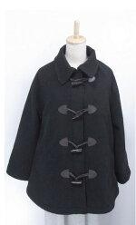 ひょう柄のティペット付☆厚手☆可愛げAラインジャケットハーフコート(ブラック)(秋冬)<全3色>