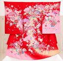 【レンタル】お宮参り 産着レンタル 女の子 mj8034 赤地にピンク祝花の舞【ベビー帽子セット付】《レン...
