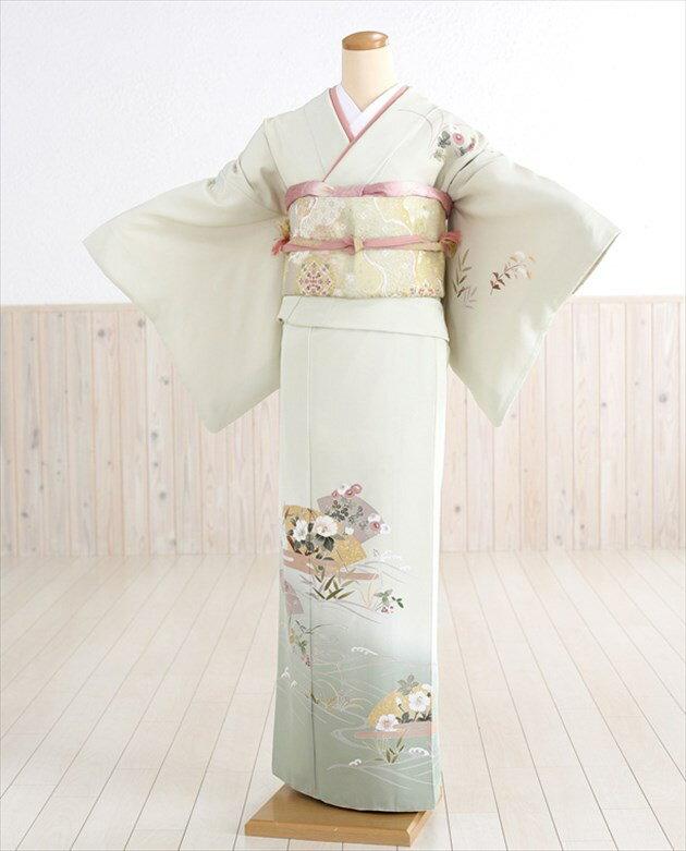 【訪問着レンタル】さわやかなグリーンに扇花の慶い hw1166【フルセット】《レンタル 訪問着》《着物 レンタル》〔お宮参り〕〔貸衣装〕〔753〕〔入学式〕〔卒業式〕〔卒園式〕〔正絹〕〔結婚式〕〔七五三〕〔ママ〕〔母〕〔kimono〕 往復送料無料 【fy16REN07】
