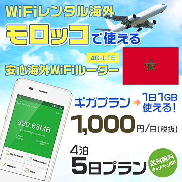 wifi レンタル 海外 モロッコ 4泊5日プラン 海外 WiFi [ギガプラン 1日1GB]1日料金 1,000円[高速4G-LTE] ワールドWiFiレンタル便【レンタルWiFi海外】