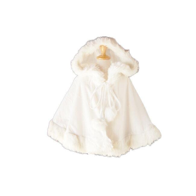 【レンタル】【ドレスと同時レンタルなら送料お得に!】【こどもプリンセスコスチューム小物レンタル】フード付きケープ ホワイト ren-cl-pr2【K00】fy16REN07