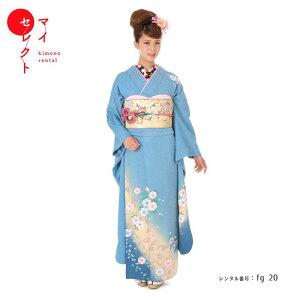 alquiler de kimonos [ceremonia para adultos] fg_20 / ha-29-2 Ceremonia de graduación de la boda de la flor de cerezo de Bokashi azul Cerezo de graduación Alquiler del set completo Alquiler de furisode Disfraz Ida y vuelta Envío gratis | Nagatsuya Tabi Medio cuello Medio cuello Vendaje Bolsa Zori Conjunto de bolsa Cuello de fecha Conjunto pequeño Alquiler de furisode Alquiler [Alquiler]