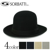 【SORBATTIソルバッティ】ウールフェルトクラッシャブルつば広変形ボーラーハットダービーハットブラック(黒)ネイビーベージュグレーM57cmL59cmXL61cm[帽子ハットメンズレディース折りたためる大きいサイズ小さいサイズ]