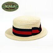 SCALAHATスカラハットカンカン帽ボーターハット2トーンリボンナチュラルM約57cmL約58cmXL約59cm[帽子メンズ紳士レディース春夏大きいサイズ小さいサイズ]
