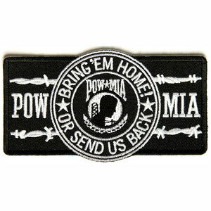 ミリタリーワッペン POW MIA 戦争捕虜 ブラック 熱圧着式 戦闘中行方不明 | ミリタリーミリタリーパッチ アップリケ 記章 徽章 襟章 肩章 胸章 階級章