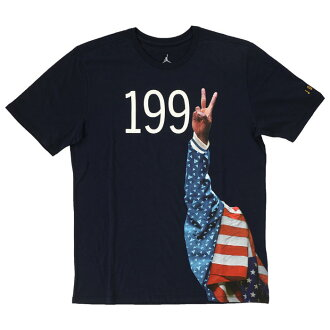 NIKE AIR JORDAN7 1992 PODIUM TEE 823308 451耐吉空氣喬丹7 1992 podiumu T恤深藍圓領短袖印刷
