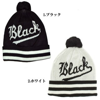 【全2色】【メンズ】BLACKSCALETheBlackV'sBeanieブラックスケールブラックv'sビーニーニットキャップブラックホワイトニット帽子ボンボン付き