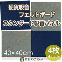 吸音フェルトパネルフェルトボード騒音対策40×40cm角FB-400M-BL青×グレー貼るだけ防炎吸音リフォームDIY(REROOM)