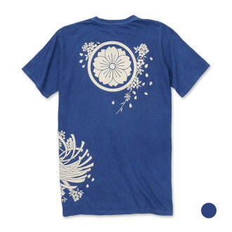 Fireman's standard storm of falling cherry blossoms indigo dyeing discharge dyeing T-shirt