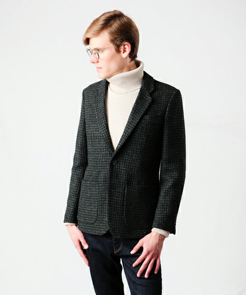 【MROLIVE(ミスターオリーブ)】【予約販売9月末〜10月上旬発送】M-5337-HARRIS TWEED HOUNDS-TOOTH /ROLLING DOWN 3B NOTCHED LAPEL JACKET:CAMBIO