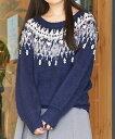 【Supreme.La.La.(シュープリームララ)】174-KT015-ビーズノルディックニットトップス セーター