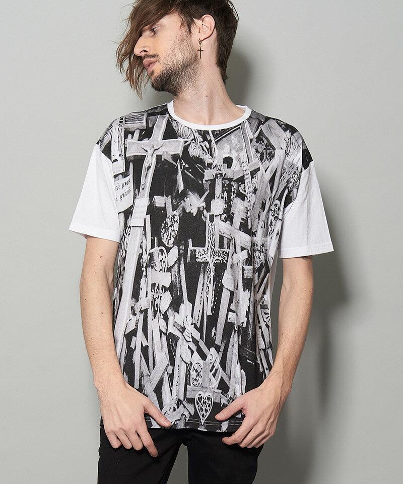 【NO ID.(ノーアイディー)】CROSSプリントT Tシャツ(446006-426T)