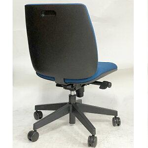 オフィスチェアKC-UC60SELブルー肘なしシンクロロッキングUチェアプラス製ほぼ新品送料無料