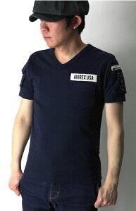 【送料無料】AVIREX(アビレックス)アヴィレックスVネックファティーグ半袖Tシャツカットソーミリタリー